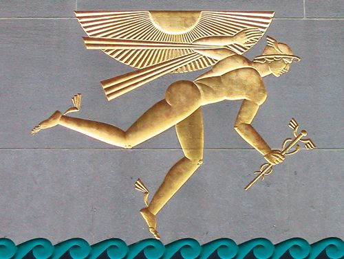 New York's Top 10 : Rockefeller Center - Rockefeller Center Artworks - Winged Mercury Lee Lawrie's stunning 1933 relief of Mercury, the Roman god of trade, profit and commerce, celebrates the British Empire. The golden classical figure wears a helmet – a sign of protection.