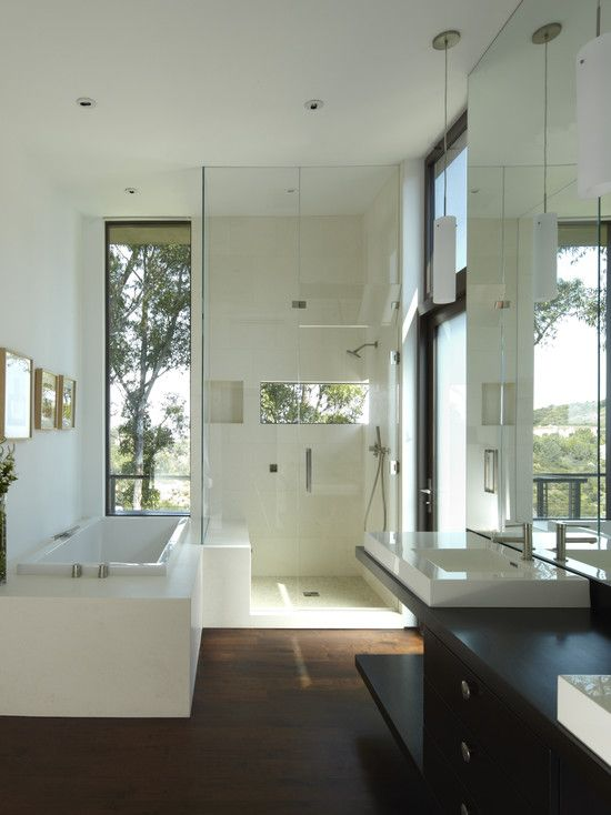 wood in the master bath.