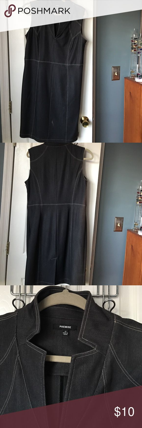 Black denim dress Side zip, some stretch , great stitching, perfect work dress, true to size premise  Dresses