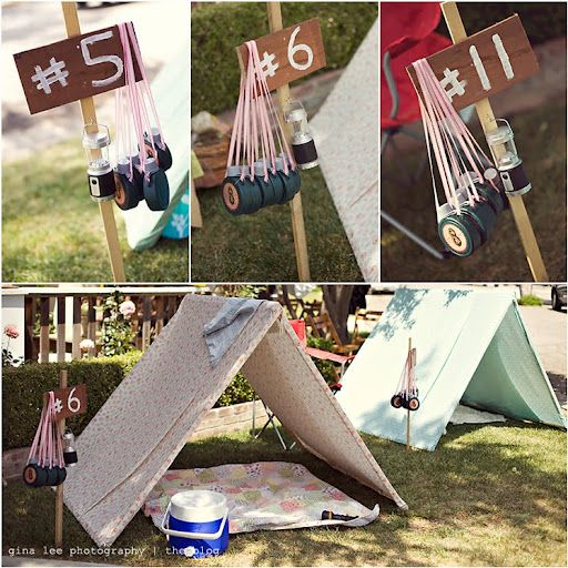 Adorable 8 year old girl camping birthday party, including smores and an
