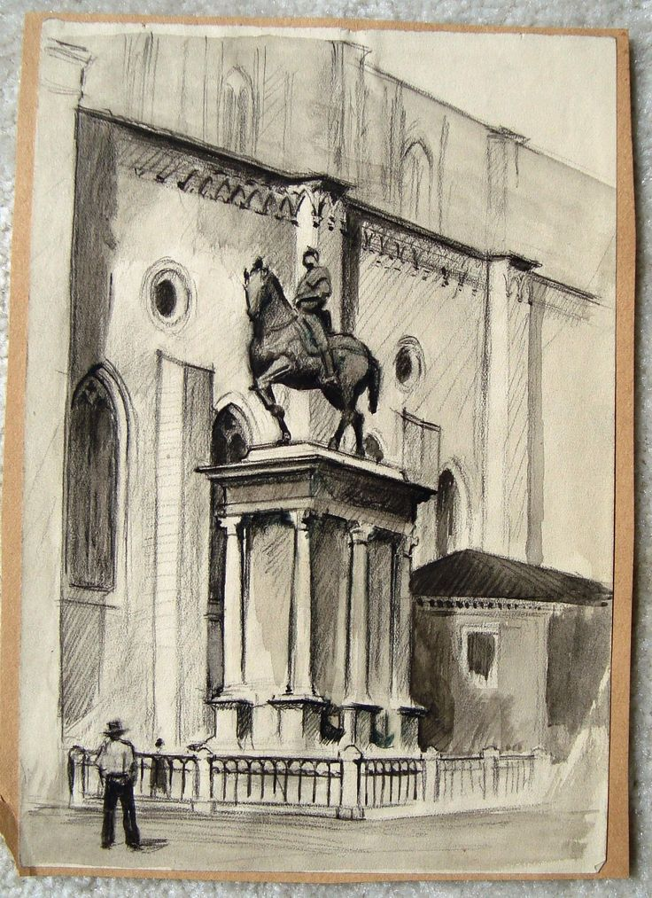 Sketch from trip to Europe of statue by Harry E. Stinson