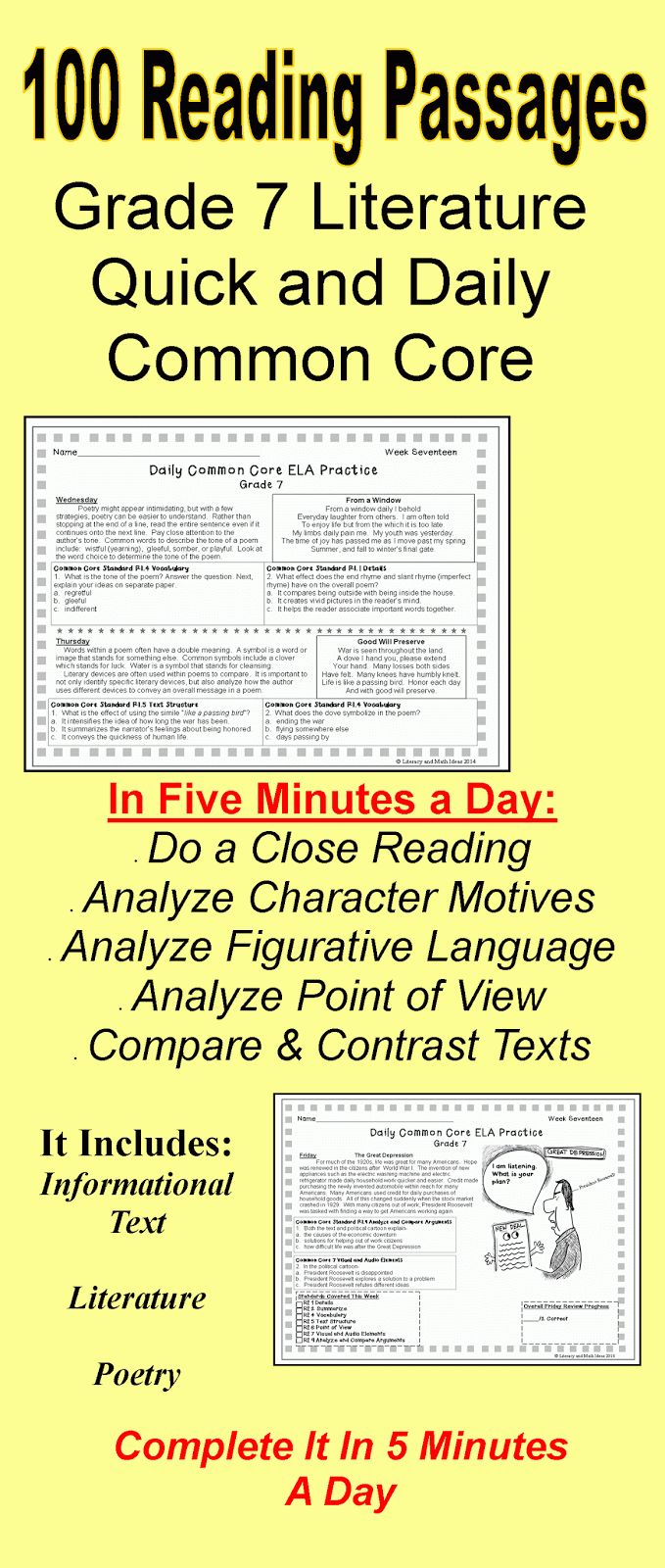 Worksheets Reading Comprehension Worksheets Grade 8 27 best reading passages images on pinterest teaching literacy math ideas 100 grade 7 daily common core literature