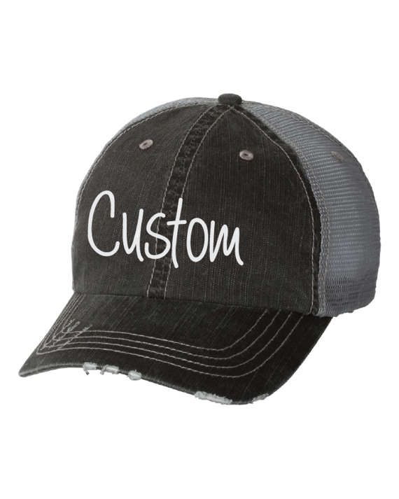 Custom Embroidered Hat. Custom Hat. Womens Hats. Mens Hats. Baseball Hat. Bachelorette Hats. Lake Hair Dont Care Hats. Beach Hair Dont Care Hats. Trucker Caps.  High Quality Herringbone Unstructured Trucker Cap 80% cotton/20% polyester, Herringbone fabric 100% polyester mesh back Unstructured, six-panel, low-profile Pre-curved fray visor with contrasting undervisor Velcro closure  These hats are professionally embroidered with cloud colored thread.