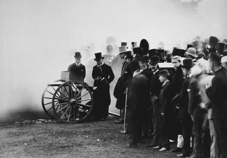 The Prince of Wales firing the last shot at a National Rifle Association meeting on Wimbledon Common with a Maxim machine gun, London, 1888