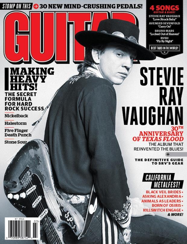 March 2013 Guitar World: Stevie Ray Vaughan's 'Texas Flood' Turns 30.