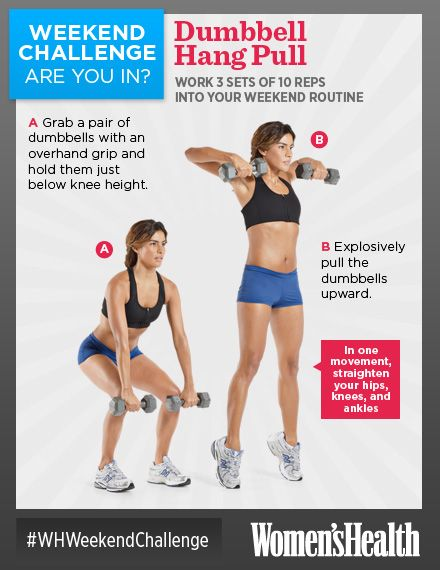 Weekend Challenge: Dumbbell Hang Pull - http://blog.womenshealthmag.com/whexperts/weekend-challenge-dumbbell-hang-pull/