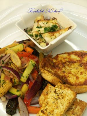 Grillezett tofu, oregános gomolya, pirított camambert, baconos-mézes zöldséghasábokkal