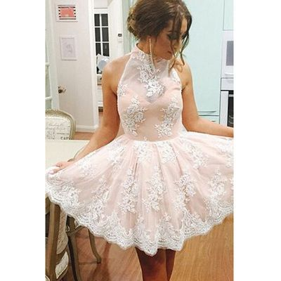 Lace prom dress, knee-length prom dress, junior homecoming dress, party dress…