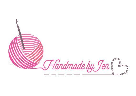 Crochet logo Yarn logo Handmade shop logo Knit by NancyDzines