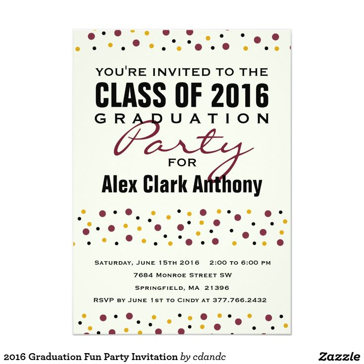 2016 Graduation Fun Party Invitation