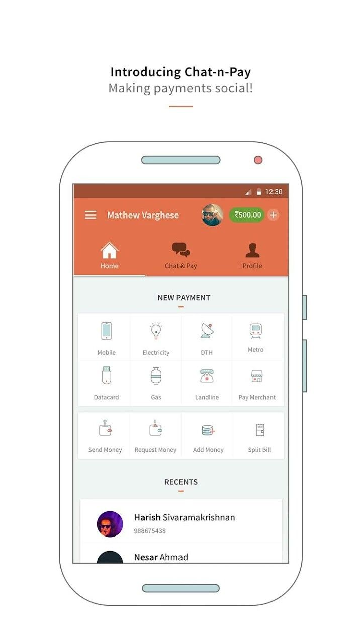 Mobile recharge and wallet home screen