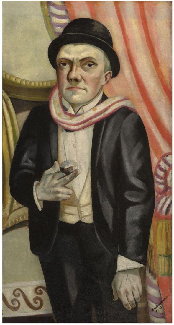 'Selbstbildnis vor rotem Vorhang', 1923 -  Max Beckmann