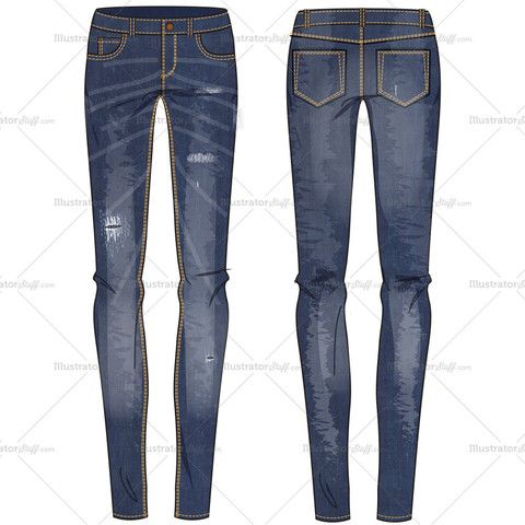 Women's Mid-rise Washed Skinny Jean with Sandblasting, Tears and Whiskers