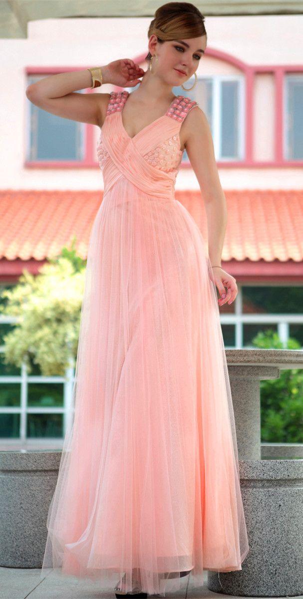 Long A-line Criss Cross Natural Waist Organza Evening Dress