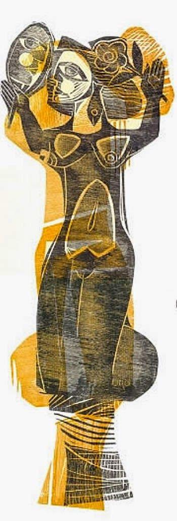 Ciro Fernandes, Sereia, xilogravura.