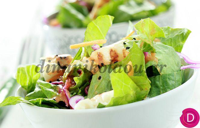 Σαλάτα με χαλούμι και λαδόξιδο με χυμό ντομάτας | Dina Nikolaou
