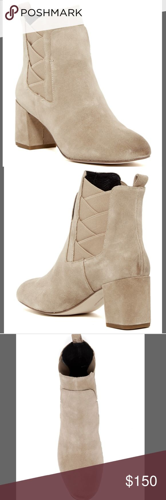 "BNIB Rebecca Minkoff Block Heel Suede Boot Brand new in box.  Color is Taupe.  Runs small; order next size up.   - Round burnished toe - Suede construction - Gore panel insets - Pull-on with back pull-tab - Lightly padded footbed - Block heel - Approx. 5"" shaft height, 10"" opening circumference - Approx. 2.5"" heel  Materials Suede upper, rubber sole Rebecca Minkoff Shoes Ankle Boots & Booties"