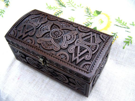 Jewelry box Wooden box Ring box Carved wood box by HappyFlying, $45.00