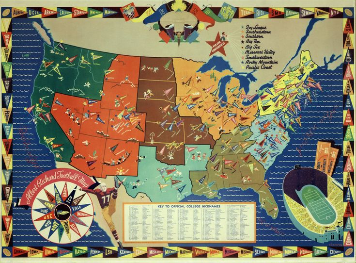 1938 NCAA College Football Map Illustrated LARGE Full Color Poster Art United States US Texas Duke Notre Dame Yale Stanford Cornell etc by TimeofReason on Etsy