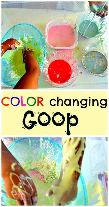 Watch colors appear on your goop concoction WITHOUT adding food colors or paint. It is pretty magical for younger kids and a great hands on science activity for older kids. #sensoryactivities #preschoolscience