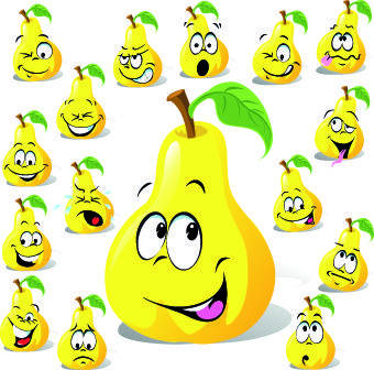 funny cartoon food expression vector