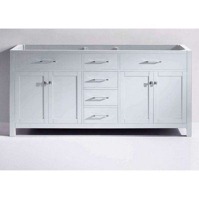 "Virtu USA Caroline 72"" Double Sink Bathroom Vanity Cabinet in White MD-2072-CAB-WH at DiscountBathroomVanities.com"