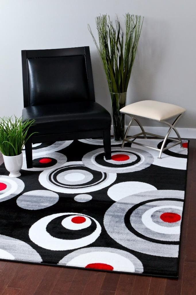 Beautiful 2075 Black Abstract Contemporary Area Rugs