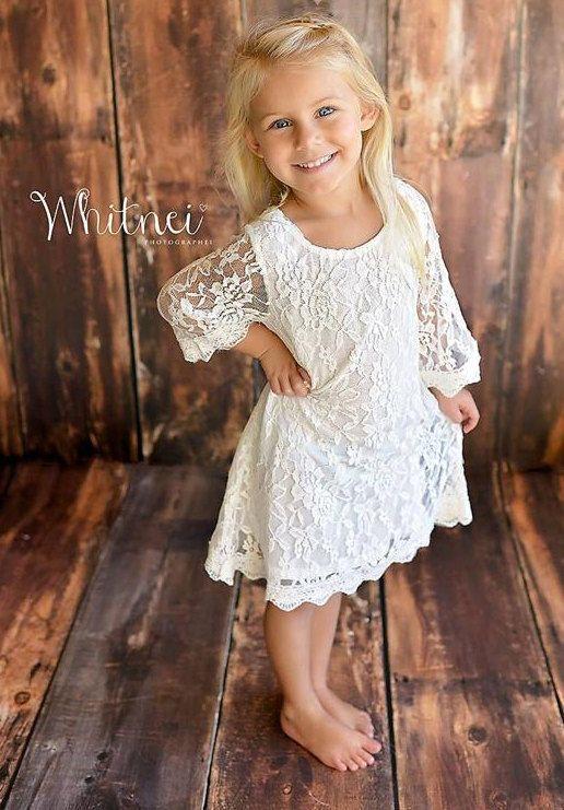 De gewoon Grace White Lace bloemenmeisje jurk by KateGraceRose | Etsy
