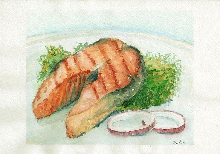#art #искусство #живопись #акварель #творчество #растения #painting #watercolor #creativity #plants #AndreyPenkin #Penkin #натюрморт #семга #рыба #гриль #блюдо #salmon #fish #grill #dish #еда #food