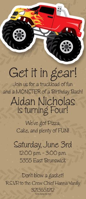 best 25+ monster truck racing ideas on pinterest | monster truck, Party invitations