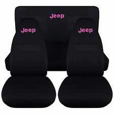 1997-2002 Jeep Wrangler Two Tone w Design Front & Rear Seat Covers/Choose COLOR