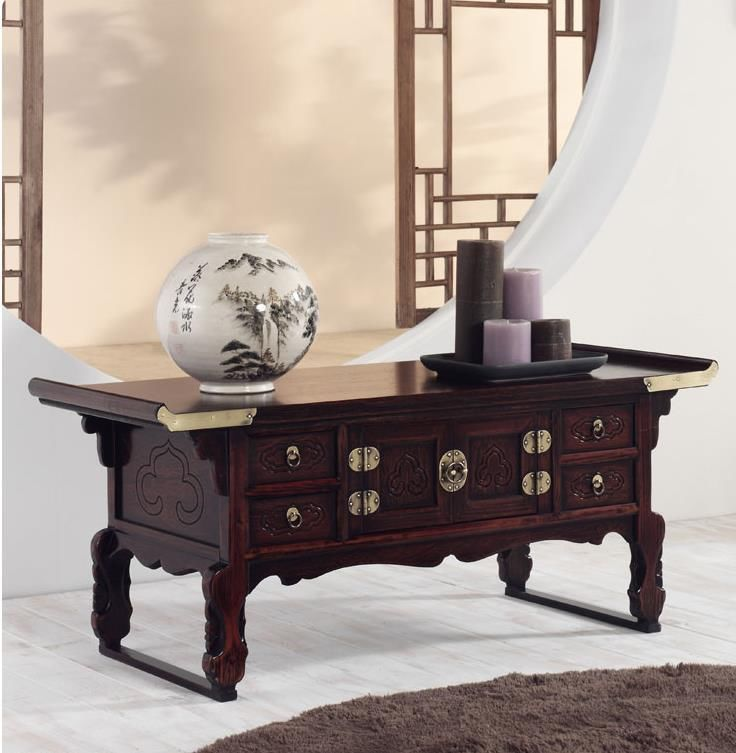 Wooden Floor Table Japanese Style Antique Asian Low Furniture