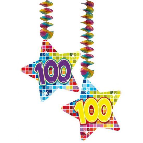 Hangdecoratie sterren 100 jaar. Hangdecoratie in de vorm van sterretjes met het getal 100. De decoratie is verpakt per 2 stuks en is ongeveer 13,3 x 16,5 cm groot.