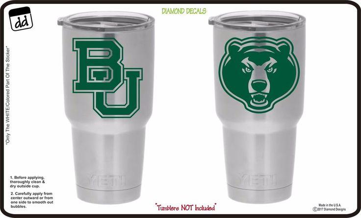 Baylor Bears (Set of 2) for Yeti Tumbler Vinyl Decal Car Truck Cornhole NCAA #DiamondDecals