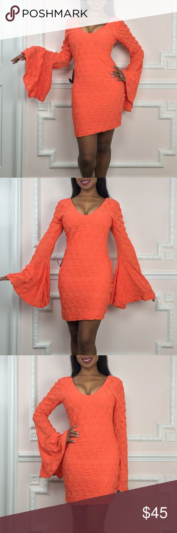 Bebe NEW Orange party dress with bell sleeves NWT - perfect condition- New with tags. The sleeves on this dress are everything. Its like a cape for your arms! The bright color is unmissable and this dress is fully lined. Hidden zip at side. For reference I am 5'2 95% Polyester 5% Spandex Measurements (Flat) Length - 28 inches Underarm to bottom hem Bust- 31 inches Waist - 28 Inches Hip- 32 inches Visit and follow my closet for HUNDREDS of styles in all price ranges! bebe Dresses Mini