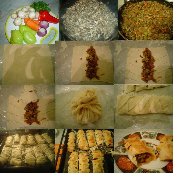 Грибной рулетики.Нам надо:слоенное тесто, грибы, перец, морковь,лук, зелень, соль,перец по вкусу .Приятного аппетита!!!!