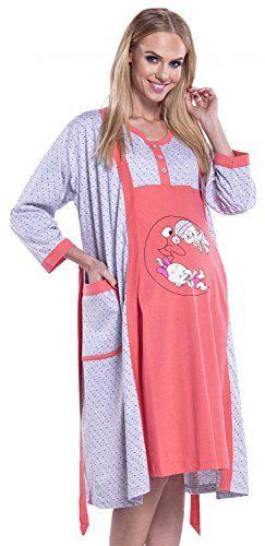 Happy Mama Womens Maternity Hospital Gown Robe Nightie Set Labour ...