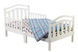 Dream On Me Elora Collection Toddler Bed, White by Dream On Me. $69.99. Solid wood design. Safety bed rails. Non toxic finish. Accommodates a standard crib mattress. From the Manufacturer                The Dream On Me, Elora Collection Toddler Bed is an elegant design made of solid wood and has a beautiful non-toxic finish. Designed low to the floor so that your toddler can safely get in and out of bed, it is the perfect transition for toddlers who have outgrown their...