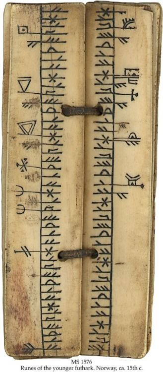 Runes of the younger Futhark, Norway, ca. 15th century. The Younger Futhark, also called Scandinavian runes, is a runic alphabet, a reduced form of the Elder Futhark, consisting of only 16 characters, in use from about the 9th century, after a transitional period during the 7th and 8th centuries. The reduction, somewhat paradoxically, happened at the same time as phonetic changes led to a greater number of different phonemes in the spoken language, when Proto-Norse evolved into Old Norse.