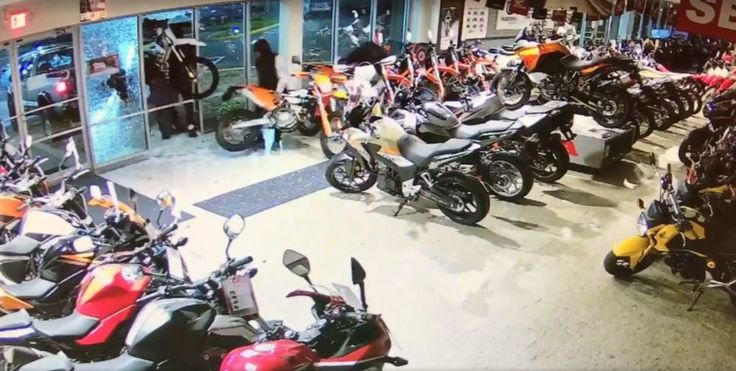 Three off-road motorcycles were stolen from the Manchester Honda dealership early Tuesday morning. The theft occurred at about 12:30 a.m., police Capt. Christopher Davis said.  Surveillance footage of the incident, provided by a dealership manager, shows several people backing a silver pickup truck up to the Adams Street building, shattering two windows, using bolt cutters to break a lock around the bikes' wheels and then lifting three bikes out of the showroom.
