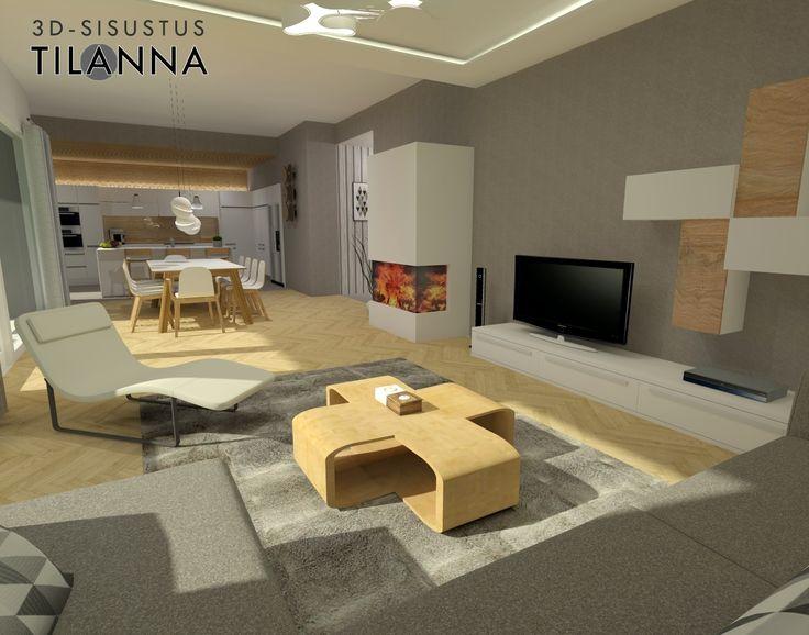 3D-visualisointi ja -sisustussuunnittelu uudisrakennukseen / moderni - skandinaavinen olohuone, sormipaneeli keittiön katossa sekä välitilassa lasin takana, valkoiset mattamaalatut uralliset kiintokalusteet, keittiössä betonilattia, olohuoneessa kalanruotoparketti, tuntomaalilla harmaaksi maalatut seinät, aulan seinällä harmaaraidallinen tapetti, epäsuoravalaistus, luonnonvalkoinen Diva-divaani ja harmaa kulmasohva/ 3D-sisustus Tilanna