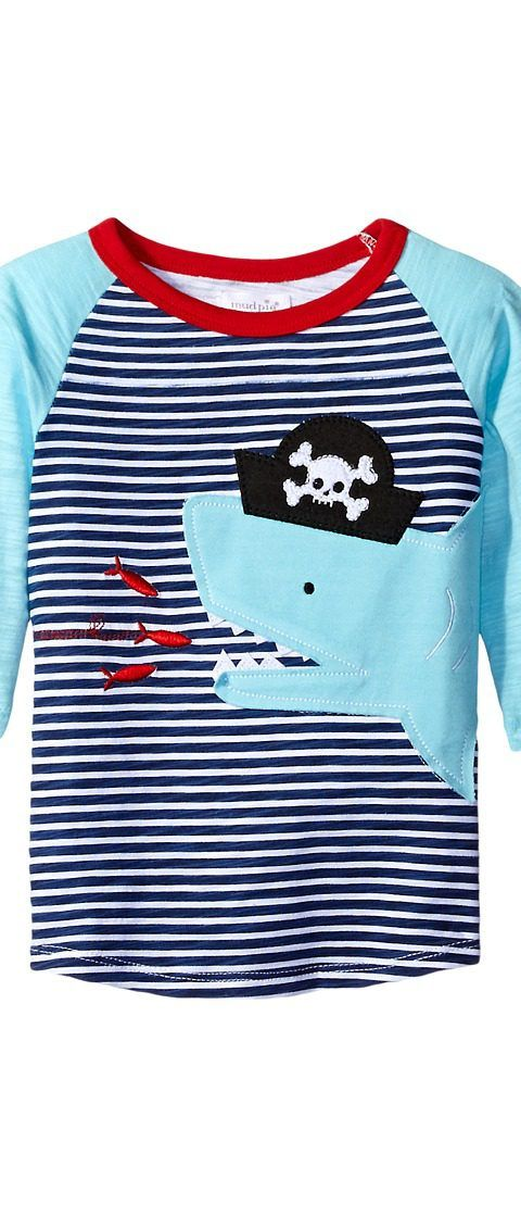 Mud Pie Pirate Shark T-Shirt (Infant/Toddler) (Blue) Boy's T Shirt - Mud Pie, Pirate Shark T-Shirt (Infant/Toddler), 1052165S, Apparel Top Shirt, T Shirt, Top, Apparel, Clothes Clothing, Gift, - Street Fashion And Style Ideas