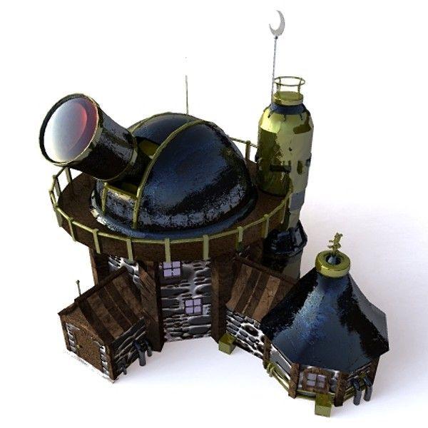 Fantasy Observatory Building 3d Model