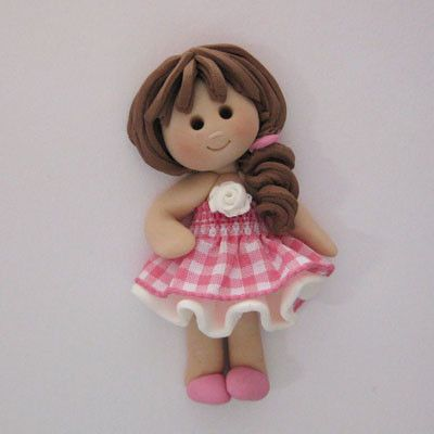 Fimo Gingham Girl Card Topper