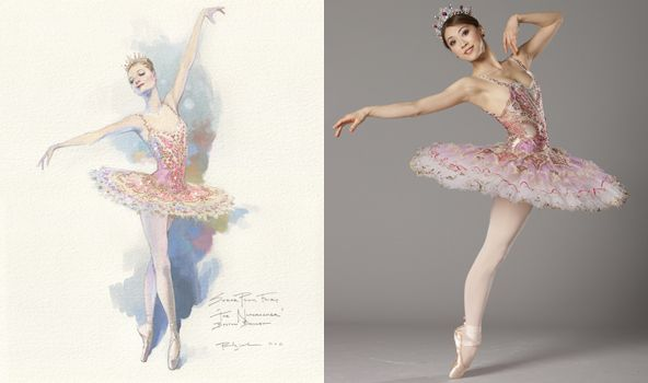 The Sugar Plum Fairy's costume as a sketch and on the dancer. Boston Ballet.
