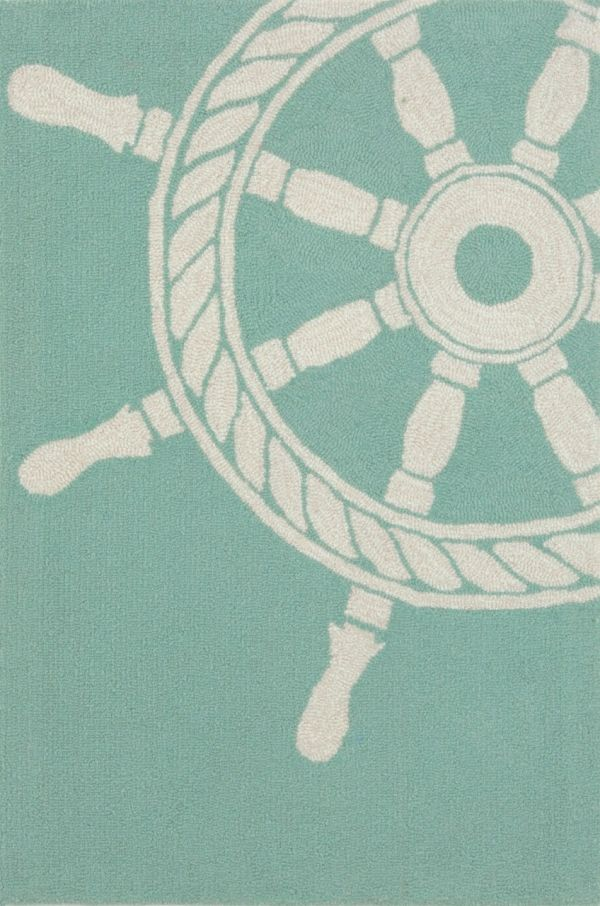 This aqua ship wheel rug will liven up any indoor or outdoor space,