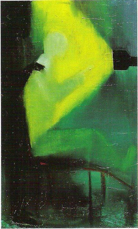 """Marco Cingolani  """"La Legge - The Law"""", 1994, Olio su tela cm. 100 x 60.  (opera pubblicata nel catalogo edito da Emilio Mazzoli """"Terra e cielo da sempre uniti"""")."""