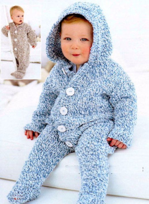 PDF Digital Vintage Knitting Pattern Chunky Knit Baby Toddlers All-In-One or Hooded Suit instructions for making it with without the hood Chunky £1