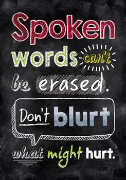 Spoken words can't be erased… Inspire U Poster by Creative Teaching Press. NEW Inspirational posters