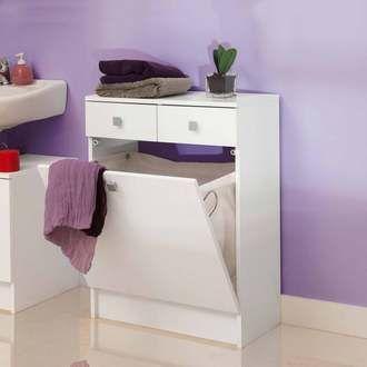 Rangement salle de bain avec tiroirs et bac � linge BANIO